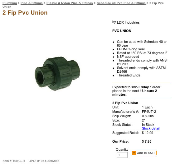 LDR female pipe fitting Union for use on the PCS3 solar pool heater